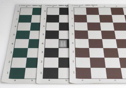 50 x 50 Scacchiera da torneo in plastica, avvolgibile. Bianco-Marrone