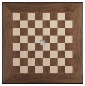 Walnut/Maple Tournament Chessboard, gloss finish