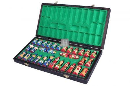 Babushka wooden chess set