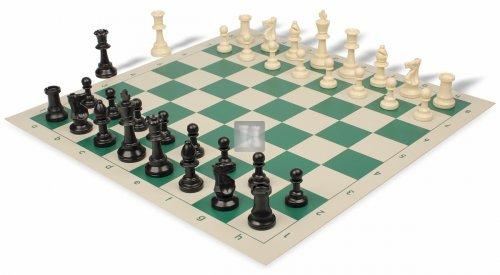 Plastic double-weighted tournament chess pieces  + white/green board