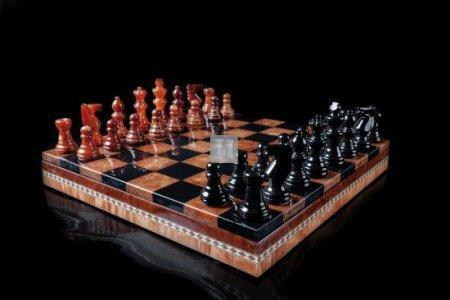Alabaster chess Set agate/black cm 35x35