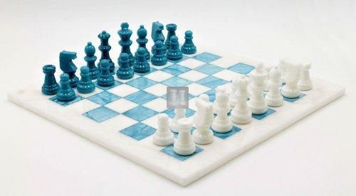Completo in alabastro bianco/azzurro cm 37x37