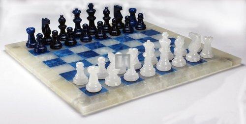 Alabaster Chess Set blue/white cm 26x26