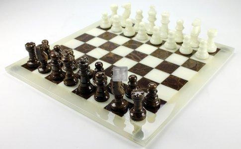 Completo in alabastro bianco/marrone cm 26x26