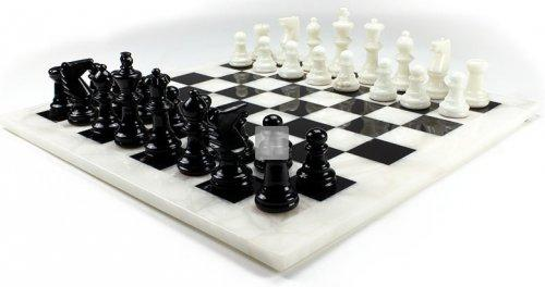 Completo scacchi in alabastro bianco/nera cm 26x26