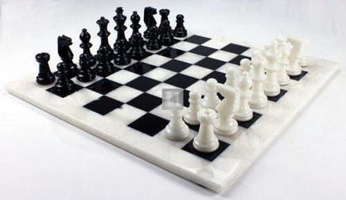 Completo in alabastro bianco/nera cm 37x37