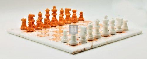Alabaster Chess Set black/orange cm 37x37