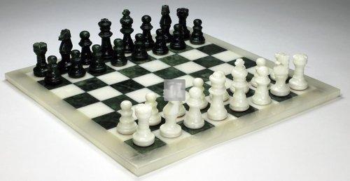 Scacchi in alabastro bianco/verde, Re mm.78 (solo scacchi, no scacchiera)