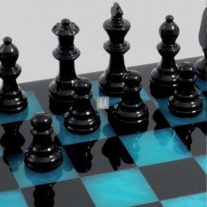 Completo scacchi in alabastro blu/nero