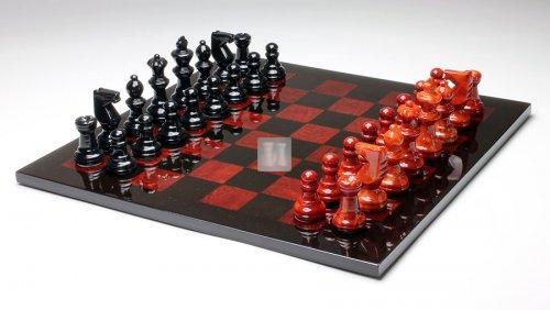Completo scacchi in alabastro rosso/nero