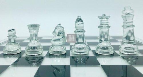 Completo in vetro scacchi+scacchiera