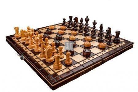 Completo scacchi + dama in legno