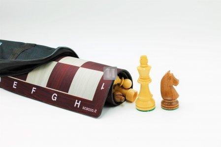 Tournament chess pieces + board + carry bag combo
