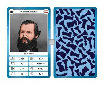 Chess Quartet Trumpf Card Game with 32 Chess Legends for Children and Adults