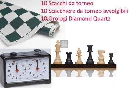 Offerta 10 Scacchi da torneo + 10 Scacchiere da torneo + 10 Orologi - 2TSC33
