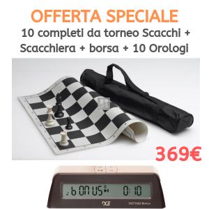Offerta 10 Completi da torneo Scacchi+Scacchiera+Borsa + 10 Orologi DGT 1002