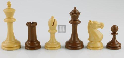 'Staunton':  tournament plastic chess pieces: beige/brown