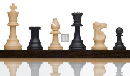 Staunton Chess pieces Tournament Size Beige/Black