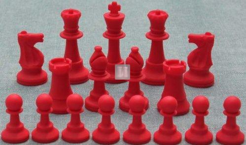 Tournament size silicone chess pieces white-red