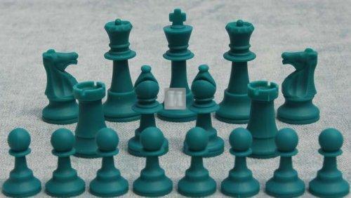 Tournament size silicone chess pieces white-green