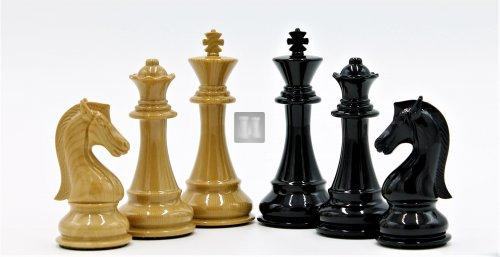 High-quality silver- bronze metal chess pieces; king height: 4.5''