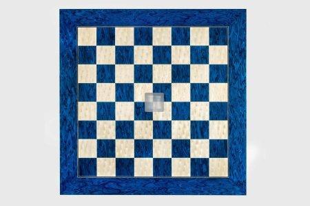 45 x 45 Scacchiera blu in acero e radica di frassino
