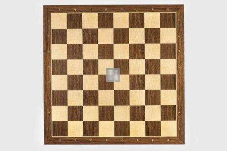 50 x 50 Scacchiera da torneo in noce e platano, con lettere e numeri. Casella 55mm.