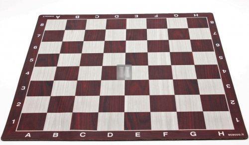 50 x 50 Scacchiera da torneo gommata tipo mousepad - legno-mogano