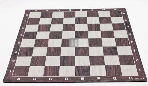 50 x 50 Scacchiera da torneo gommata tipo mousepad - legno-noce