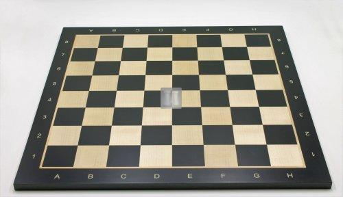 Tournament Chessboard with notation - maple/black wood