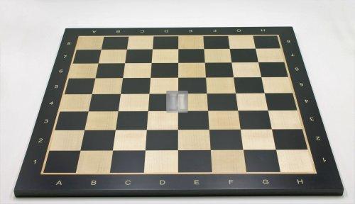 54,5 x 54,5 Scacchiera da torneo in acero. Con lettere e numeri, casella 58mm. - 746BLACK