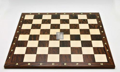 50 x 50 Tournament Chessboard with notation - Striped ebony and Maple