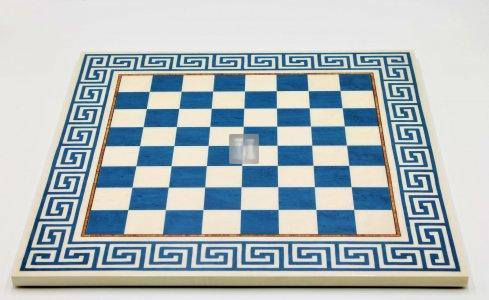 44,5 x 44,5 Scacchiera con motivo greco bianco-blu