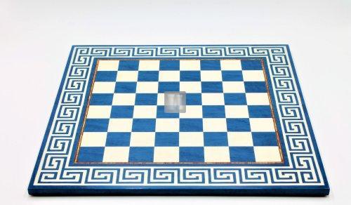 44,5 x 44,5 Scacchiera con motivo greco blu-bianco
