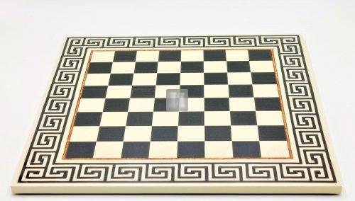 44,5 x 44,5 Scacchiera con motivo greco bianco-nero