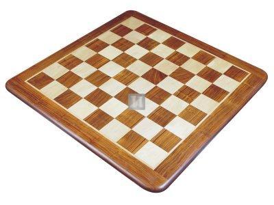 Scacchiera da torneo in legno intarsiato, angoli arrotondati 53x53cm.