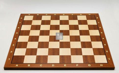 50 x 50 Scacchiera da torneo in mogano e acero. Con lettere e numeri, casella 55mm. - 746MBAL