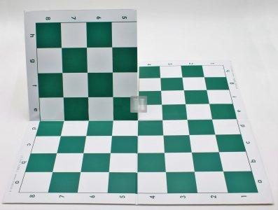 Tournament Folding Chess Board with 2.25 Squares - Double Fold (green)