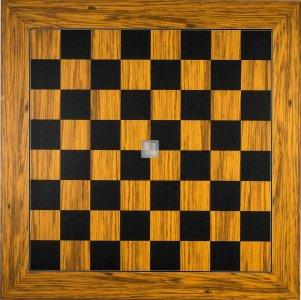 Tournament Chessboard - olive and black died poplar wood