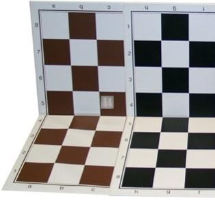 50 x 50 Scacchiera da torneo in plastica, pieghevole. Bianco-Marrone