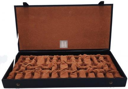 Scatola vuota per Scacchi in legno e velluto, rivestita in similpelle