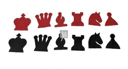 Set 32 pezzi magnetici rosso/neri di ricambio per scacchiera murale