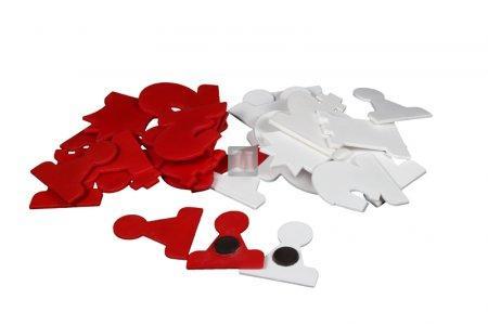 Set 32 pezzi magnetici bianco/rossi di ricambio per scacchiera murale